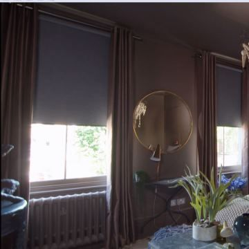 Abigail-Ahern-Erika-Mocha-curtains-with-Jerico-Charcoal-Roller-blind