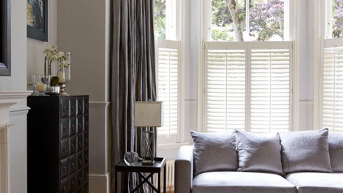 Erika-Charcoal-curtains-with-white-cafe-style-shutters
