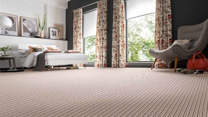 Cream striped carpet - bedroom - Blenheim - Charcoal