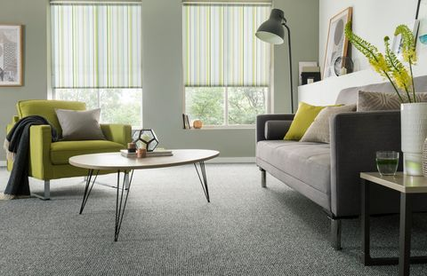 Lexi Luscious Green roller blind with Essentials Cloudburst Carpet