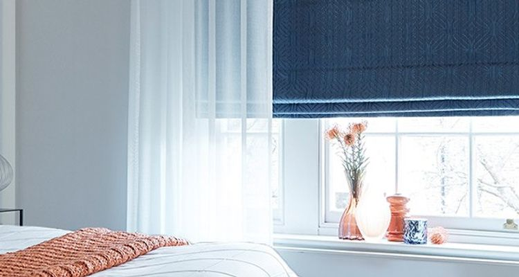 Roman blinds Blue Roman and White Voile - Bedroom - Element Denim and Crystal - Navy Blue